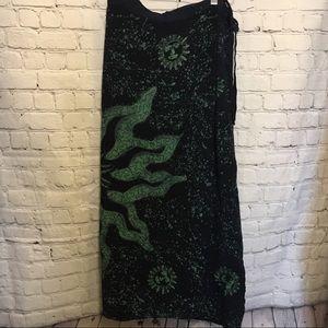 Boho celestial batik long wrap skirt